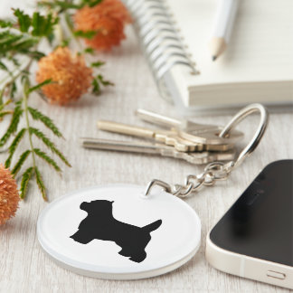 West Highland White Terrier dog black silhouette Double-Sided Round Acrylic Keychain