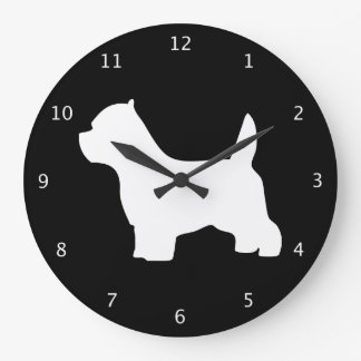 West Highland White Terrier dog black silhouette Large Clock