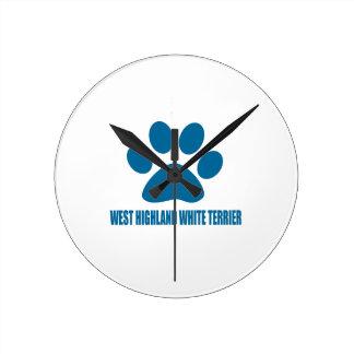 WEST HIGHLAND WHITE TERRIER DOG DESIGNS ROUND CLOCK
