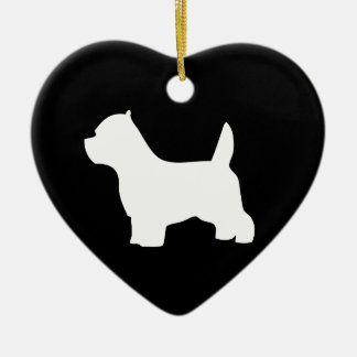 West Highland White Terrier dog, westie silhouette Ceramic Heart Ornament