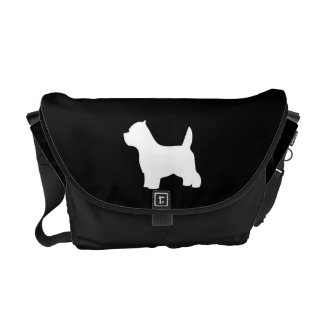 West Highland White Terrier dog, westie silhouette Courier Bags