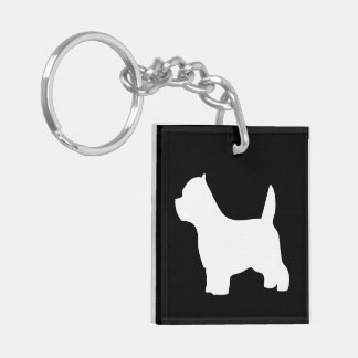 West Highland White Terrier dog westie silhouette Double-Sided Square Acrylic Keychain