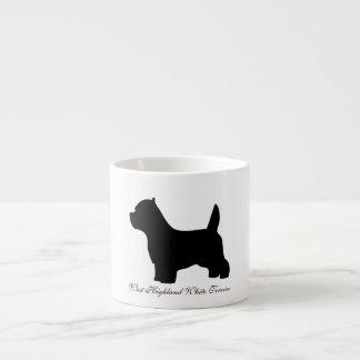 West Highland White Terrier dog, westie silhouette Espresso Cup