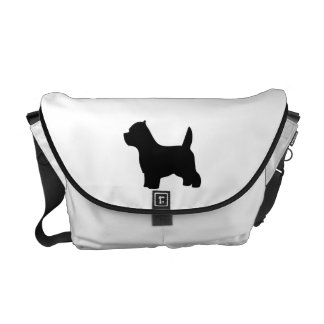 West Highland White Terrier dog, westie silhouette Messenger Bag