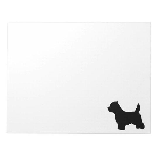 West Highland White Terrier dog, westie silhouette Notepad
