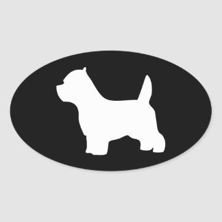 West Highland White terrier dog, westie silhouette Oval Sticker