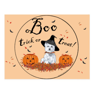 West Highland White Terrier Halloween Postcard