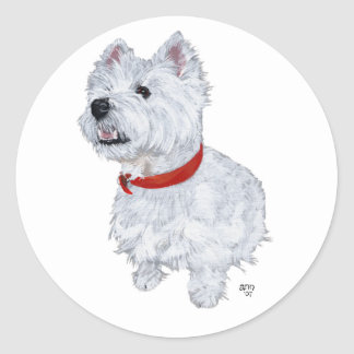 West Highland White Terrier - Looking Up Classic Round Sticker
