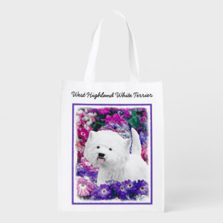 West Highland White Terrier Painting Dog Art Reusable Grocery Bag