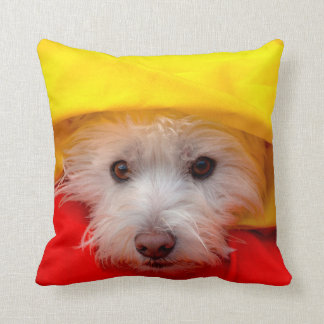 West Highland White Terrier peeking out of yellow Throw Pillow