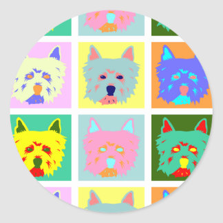West Highland White Terrier Pop Art Round Sticker