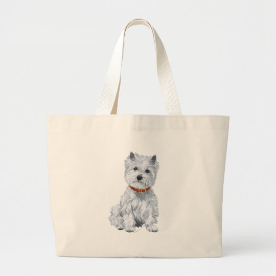 West Highland White Terrier Red Collar Large Tote Bag