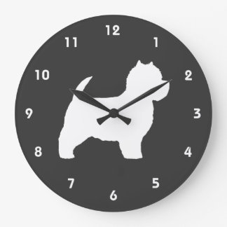 West Highland White Terrier Silhouette Large Clock