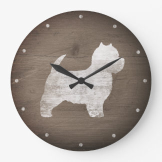 West Highland White Terrier Silhouette Rustic Large Clock