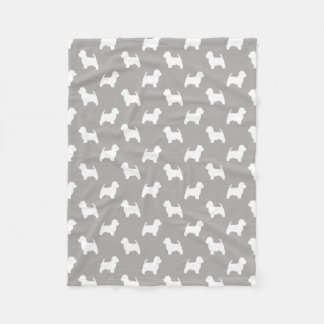 West Highland White Terrier Silhouettes Pattern Fleece Blanket