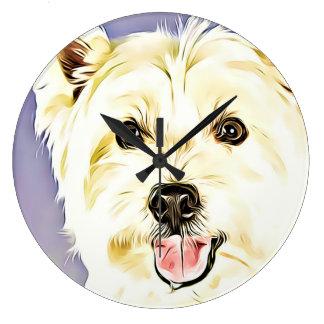 West Highland White Terrier,Westie,Dog,Puppy Large Clock