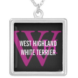 West Highland White Terrier/Westie Monogram Silver Plated Necklace
