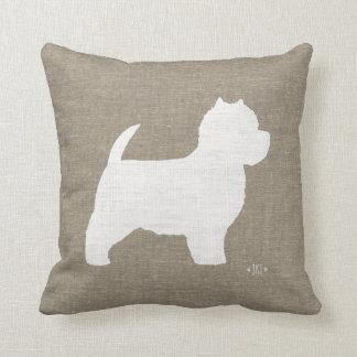 West Highland White Terrier Westie Silhouette Throw Pillow