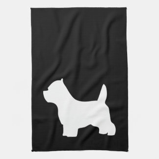 West Highland White Terriers, westie silhouette Kitchen Towel