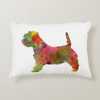 west highland white to terrier in watercolor 2 decorative pillow