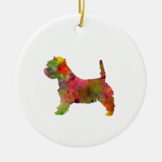 west highland white to terrier in watercolor 2 round ceramic ornament