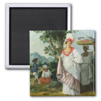 West Indian Creole Woman with her Black Servant, c Refrigerator Magnet