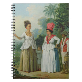 West Indian Women of Colour, with a Child and Blac Spiral Notebook
