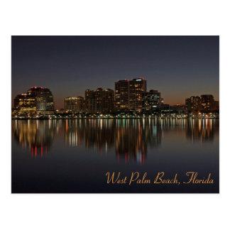 West Palm Beach Skyline at Night Postcard