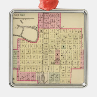West Point and Wisner, Nebraska Silver-Colored Square Ornament