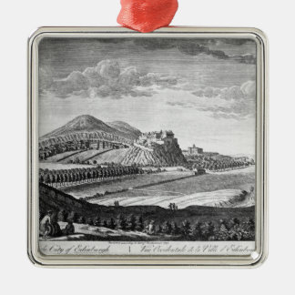West View of the City of Edinburgh, 1753 Silver-Colored Square Ornament