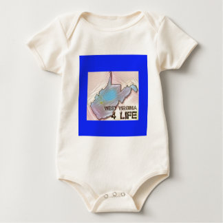 """West Virginia 4 Life"" State Map Pride Design Baby Bodysuit"