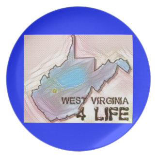 """""""West Virginia 4 Life"""" State Map Pride Design Plate"""