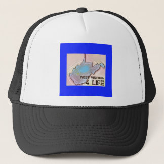 """West Virginia 4 Life"" State Map Pride Design Trucker Hat"