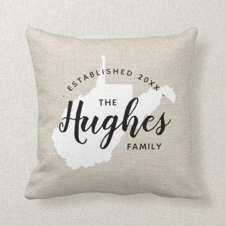West Virginia Family Monogram State Throw Pillow