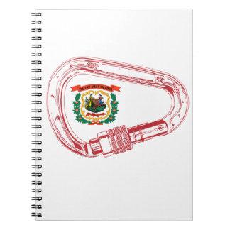 West Virginia Flag Climbing Carabiner Spiral Note Book