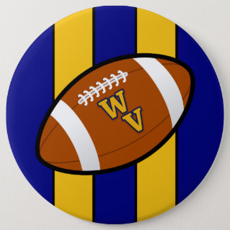 West Virginia Football Blue and Gold Pride 6 Inch Round Button
