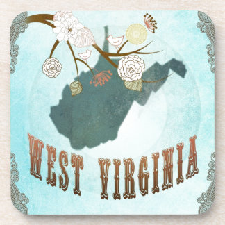 West Virginia Map With Lovely Birds Beverage Coasters
