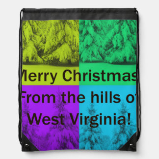 West Virginia Merry Christmas Tree Collage Cinch Bags