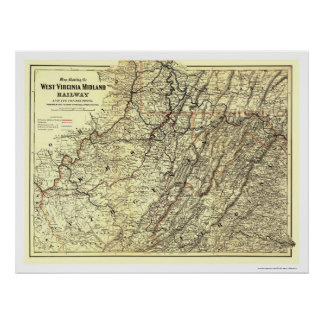 West Virginia Midland Railroad Map 1883 Poster