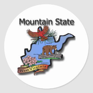 West Virginia Mountain State Cardinal Bear Rhodode Classic Round Sticker