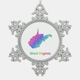 West Virginia Pewter Snowflake Ornament