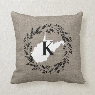 West Virginia Rustic Wreath Monogram Throw Pillow