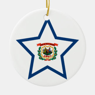 West+Virginia Star Ceramic Ornament