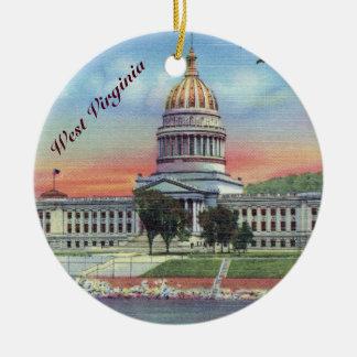 West Virginia State Capitol Round Ceramic Ornament