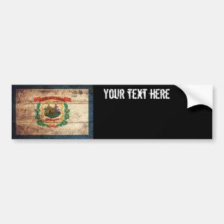 West Virginia State Flag on Old Wood Grain Bumper Sticker