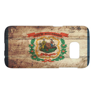 West Virginia State Flag on Old Wood Grain Samsung Galaxy S7 Case