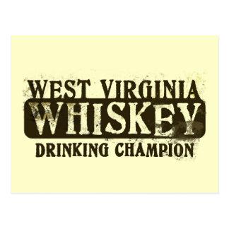 West Virginia Whiskey Drinking Champion Postcard