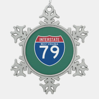 West Virginia WV I-79 Interstate Highway Shield - Snowflake Pewter Christmas Ornament
