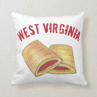 West Virginia WV Pepperoni Roll Snack Junk Food Throw Pillow