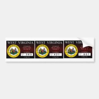 West Virginia Zombie Hunting Permit Bumper Sticker